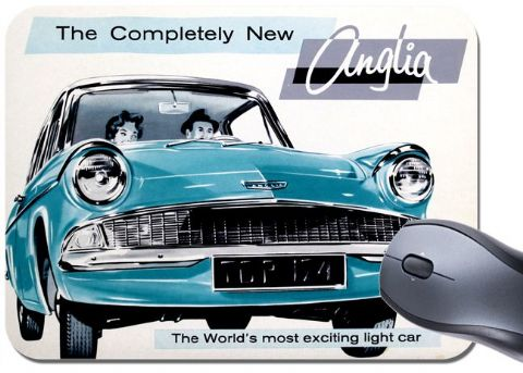 Ford Anglia Ad Mouse Mat. Classic Car Mouse pad. Brochure Advertisement